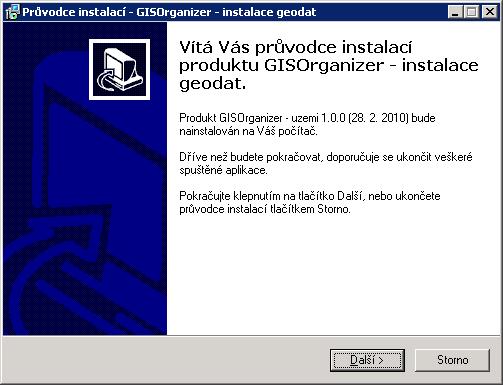 Úvodní obrazovka průvodce instalací GISOrganizer