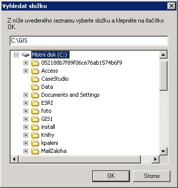 Volba kořenové složky pro instalaci dat – zde kořenový adresář disku C, automaticky se doplnila složka GIS