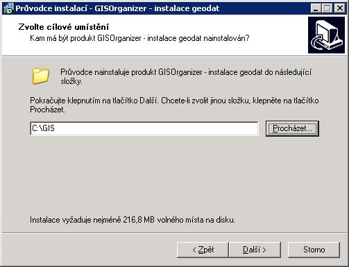 Volba instalačního adresáře