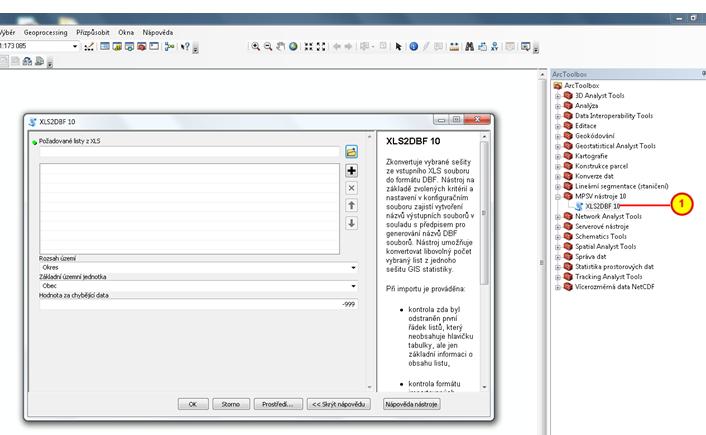 Dialogové okno  XLS2DBF 10