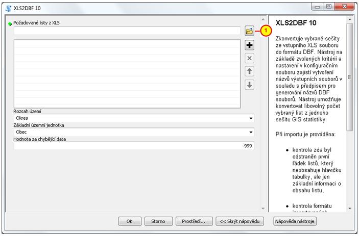 Otevřít soubor v dialogovém okně XLS2DBF 10