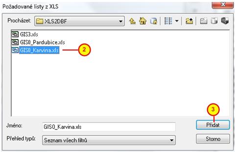 Dialogové okno Požadované listy z XLS pro načtení souboru XLS