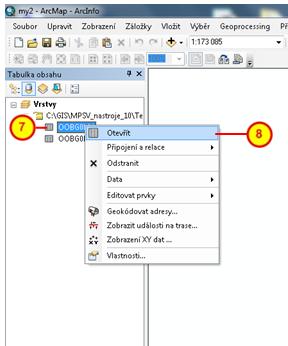 Položka Otevřít v kontextovém menu tabulku