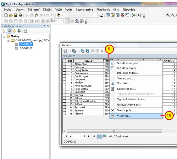 Položka Vlastnosti v kontextovém menu tabulky