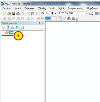 Datový rámec Vrstvy v prostředí ArcMap