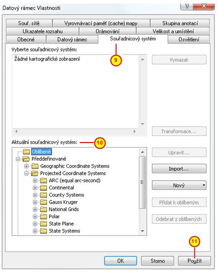 Záložka Souřadnicový systém v dialogovém okně Datový rámec Vlastnosti