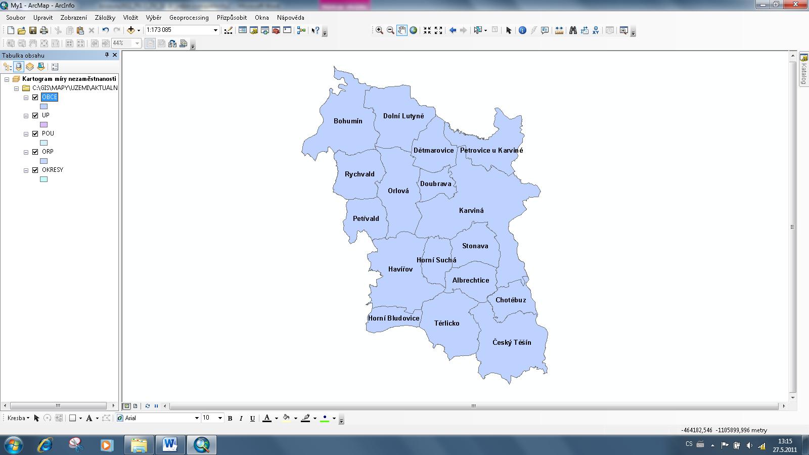 Zobrazení popisků v mapě
