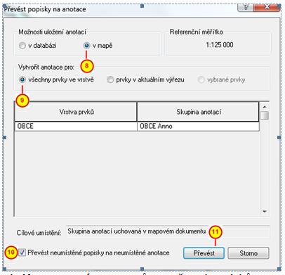 Nastavení parametrů pro převod popisků na anotace