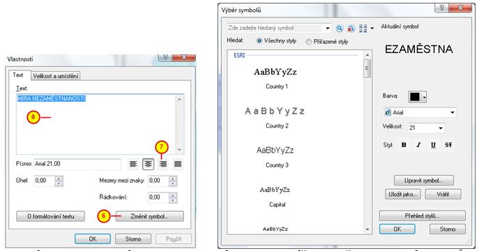 Dialogové okno vlastnosti názvu a formulář pro změnu vlastností symbolů