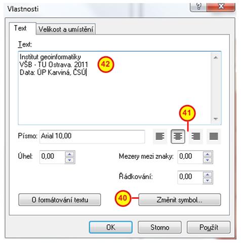 Dialogové okno vlastnosti textu